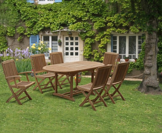 Oxburgh Curzon Single Leaf Extending Table & 6 Palma Folding Chairs