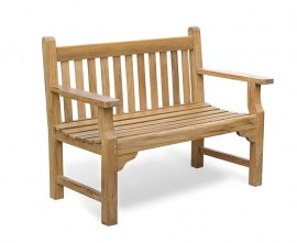 Turners Teak 2 Seater Garden Bench - 1.2m