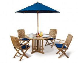 Berwick 1.2m Round Gateleg Table and 4 Palma Folding Armchairs Set