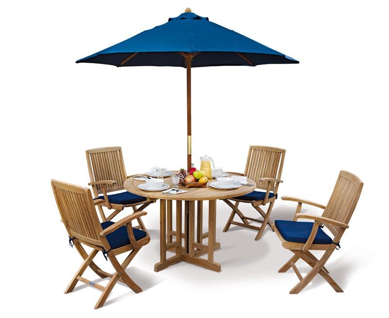 Berwick 1.2m Round Gateleg Table and 4 Palma Folding Armchairs Set