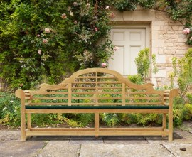 Decorative Wooden Garden Bench Lutyens-Style
