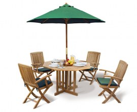 Berwick 1.2m Octagonal Gateleg Table and 4 Palma Folding Armchairs Set