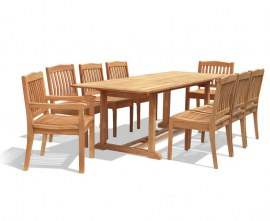 Winchester 8 Seater Teak 1.8m Rectangular Table with Armchairs and Side Chairs