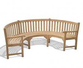 Marlow Semi Circular Garden Bench with Arms