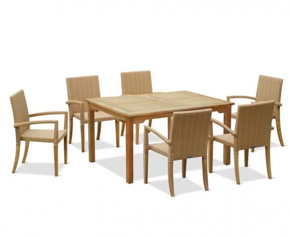 Hampton 6 Seater Rectangular 1.5m Dining Set with St. Moritz Armchairs