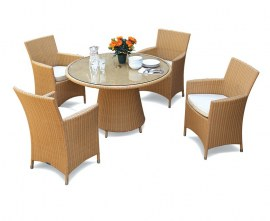 Azure Rattan Round Glass-Top 1.2m Table & Verona Armchairs