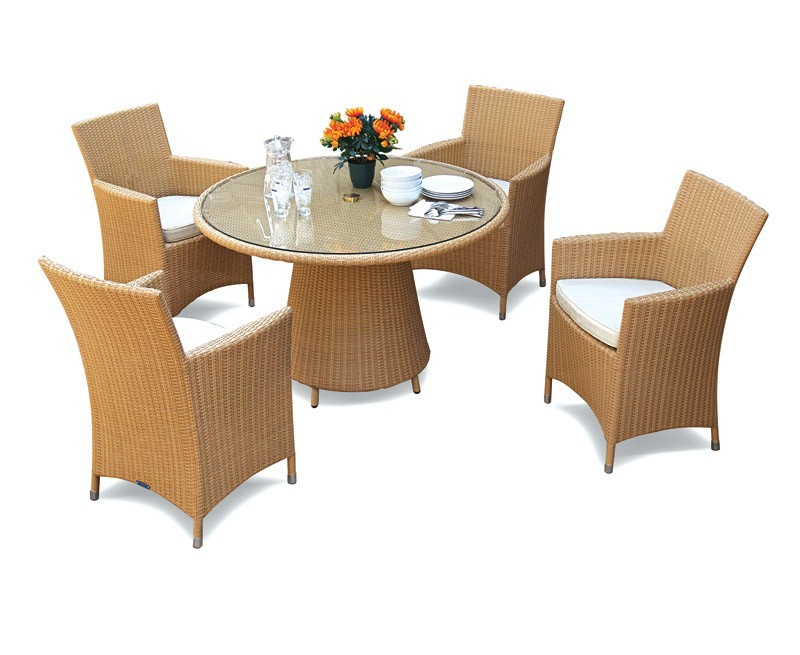 Azure Rattan Round Glass-Top 1.2m Table & Verona Armchairs