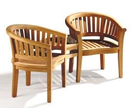 Contemporary Jack and Jill Bench, Teak Companion Seat