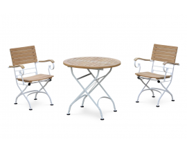 Café Round 80cm Table and 2 Armchairs, Folding Garden Set - White