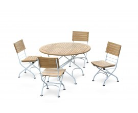Bistro Round 1.2m Table & 4 Side Chairs Set, Satin White Frame