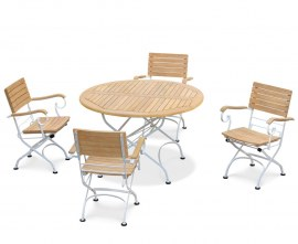 Café Round 1.2m Table and 4 Armchairs, Folding Garden Set - White