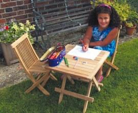 Children's Wooden Table & Ashdown Chairs Set, Kids' Garden Furniture