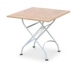 Café Square Folding Bistro Table White – 80cm