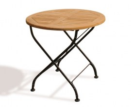 Teak Folding Cafe Table | Wood & Metal
