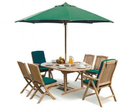 6 Seater Double Extending Table, Bali Folding Patio Chairs & Garden Recliners – accessories not included, available separately