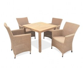Verona 4 Seater Rattan and Teak Garden Dining Set