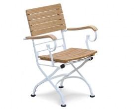 Café Folding Garden Bistro Armchair - White