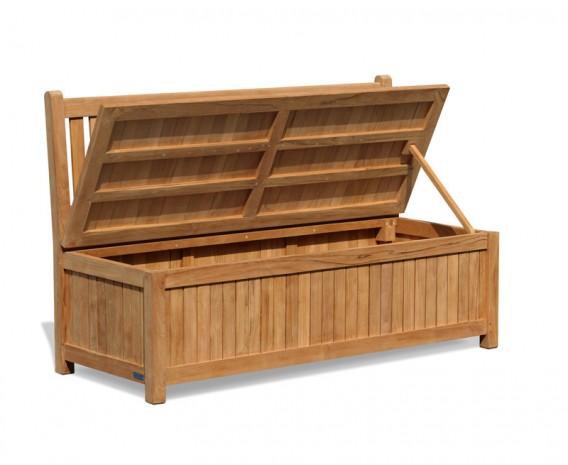 York Wooden Outdoor Storage Bench - 1.5m