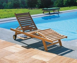 Luxury Teak Reclining Sun Lounger
