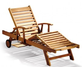 Luxury Teak Reclining Sun Lounger with Arms