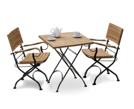 Bistro Square 0.8m Table with 2 Armchairs, Raven Black