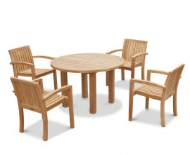 Orion 4 Seater Round 1.2m Garden Table and Antibes Stacking Chairs
