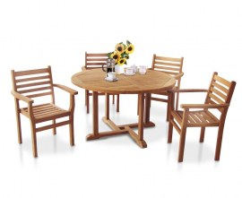Sissinghurst 4 Seater Round 1.3m Dining Set with Sussex Chairs