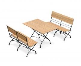 Café 4 Seater Rectangular 1.2m Table and Bench Set - Black