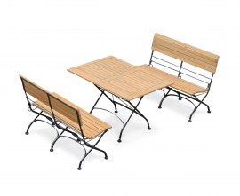 Garden Table and Bench Set, Rectangular Bistro Table with 2 Benches, Black