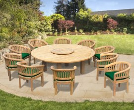 Orion 10 Seater Round 2.2m Garden Table with Banana Chairs