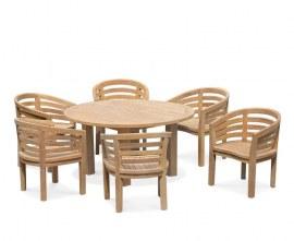 Titan Round Table 1.5m with 6 Kensington Banana Chairs