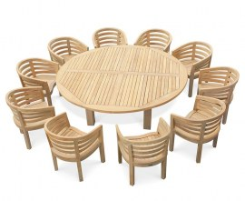 Orion 10 Seater Round 2.2m Garden Table with Bloomsbury Chairs