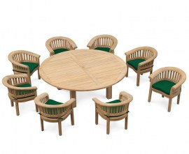 Orion 8 Seater Round 2.2m Garden Table with Deluxe Banana Chairs