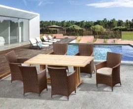 Rectory 6 Seater Teak 1.8m Rectangular Table and Verona Armchairs Set