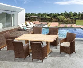 Verona 6 Seater Teak Garden Dining Set with Faux Rattan Chairs