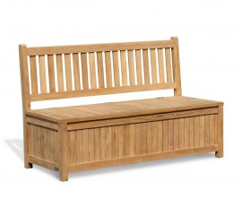 York Wooden Outdoor Storage Bench - 1.5m