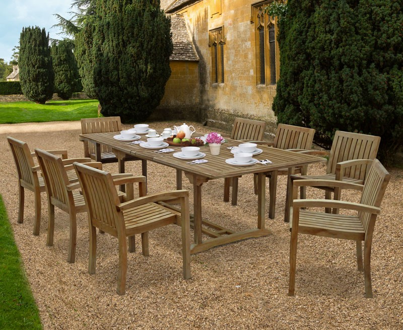 Dorset 1.8-2.4m Extending Dining Set with 8 Antibes Stacking Armchairs