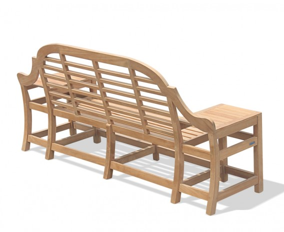 Large Teak Chinoiserie Bench with Armrests