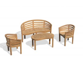 Bloomsbury Teak Conversation Set with Bench and Armchairs