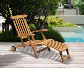 Serenity Teak Steamer Chair with Wheels and Cushion