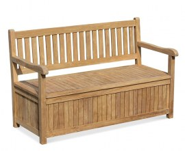 York Wooden Garden Storage Bench with Arms - 1.5m
