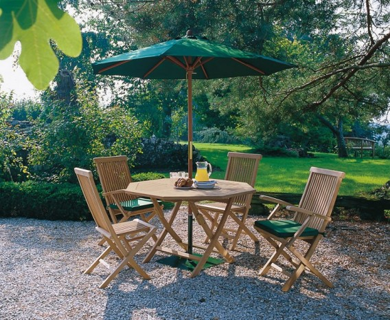 Lymington Octagonal 1.2m Folding Dining Set with 4 Newhaven Chairs