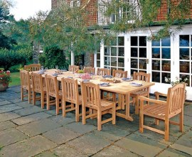 Winchester 12 Seater Teak 4m Rectangular Table with Armchairs and Side Chairs