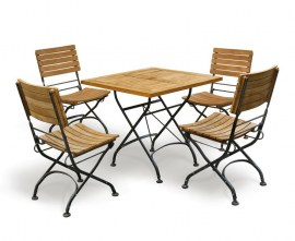 Café 4 Seater Square 80cm Table and Side Chairs Set - Raven Black
