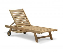 Solid Teak Sun Lounger with Wheels