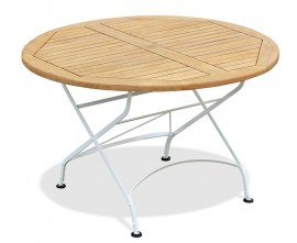 Café White Round Folding Bistro Table - 1.2m