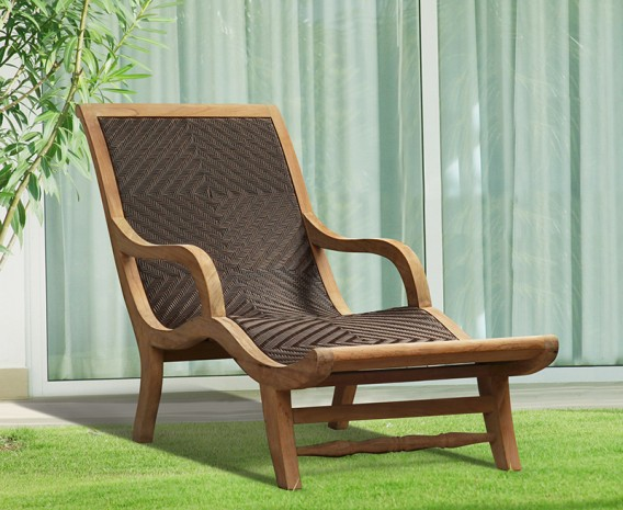 Teak and Rattan Sun Lounger