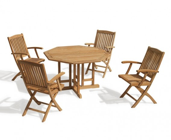Berwick 1.2m Octagonal Gateleg Table and 4 Cannes Folding Armchairs Set