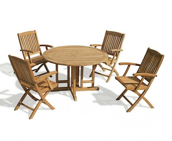 Berwick 1.2m Round Gateleg Table and 4 Cannes Folding Armchairs Set