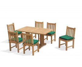 Rectory 6 Seater Teak 1.5m Rectangular Table and York Side Chairs Set